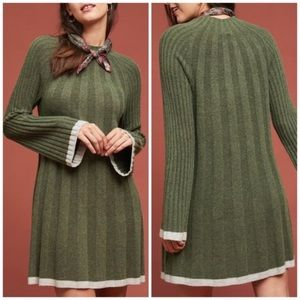 Anthropologie Moss Green Sweater Dress Arsenau